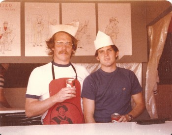 Paul Piusz and Dennis Warriner running the German American Fest Stand Berlin 1977