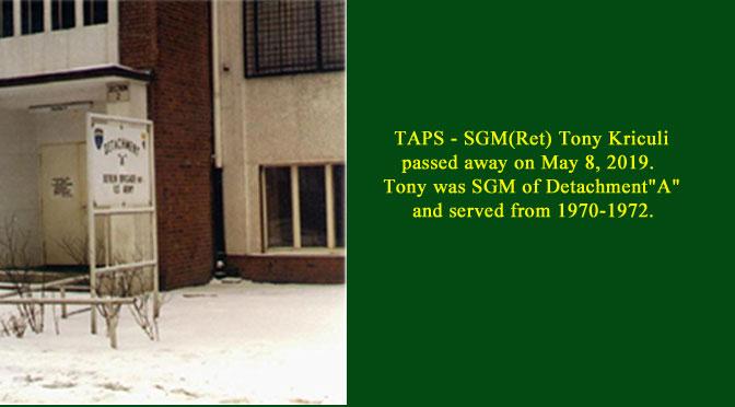 TAPS – SGM(Ret) Tony Kriculi